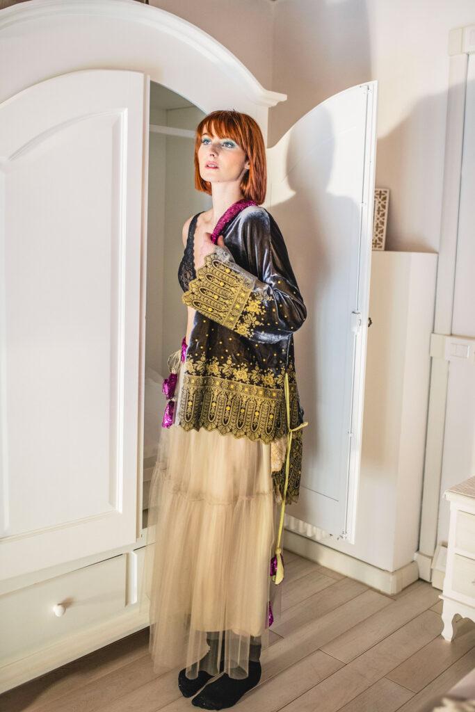 Kimono Ghiandaia e Gonna Cinciallegra